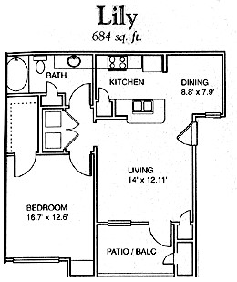 684 sq. ft. Lily floor plan