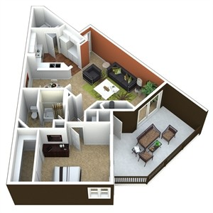 861 sq. ft. 1C floor plan