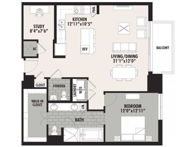 1,151 sq. ft. A12 floor plan