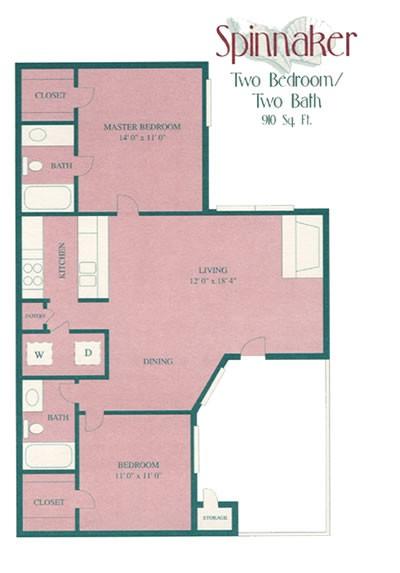 910 sq. ft. floor plan