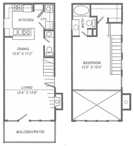 906 sq. ft. A3 floor plan
