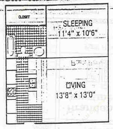 506 sq. ft. E1 floor plan