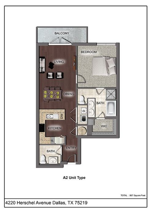 867 sq. ft. A2 floor plan