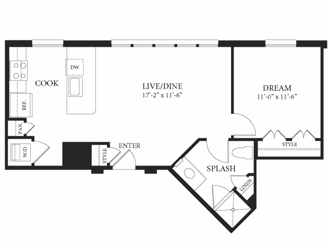 694 sq. ft. Victoria floor plan