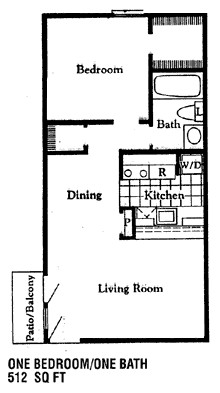 517 sq. ft. A2 floor plan