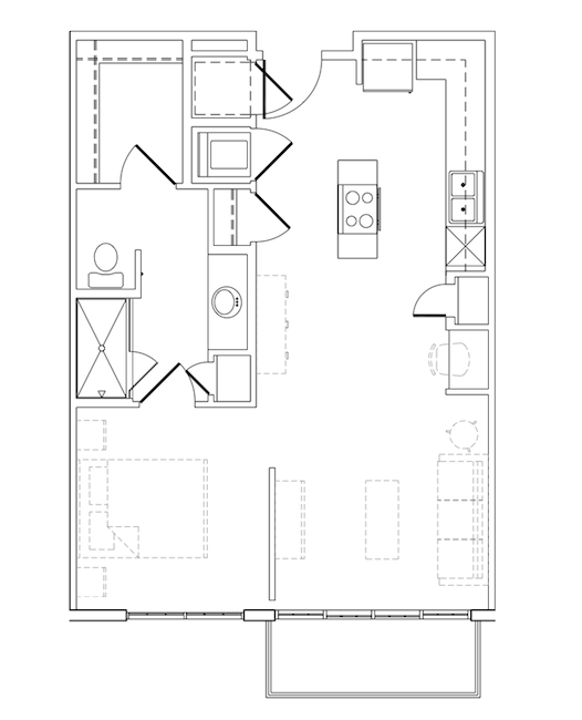 651 sq. ft. Clyde floor plan