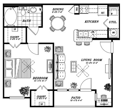 748 sq. ft. A1A floor plan