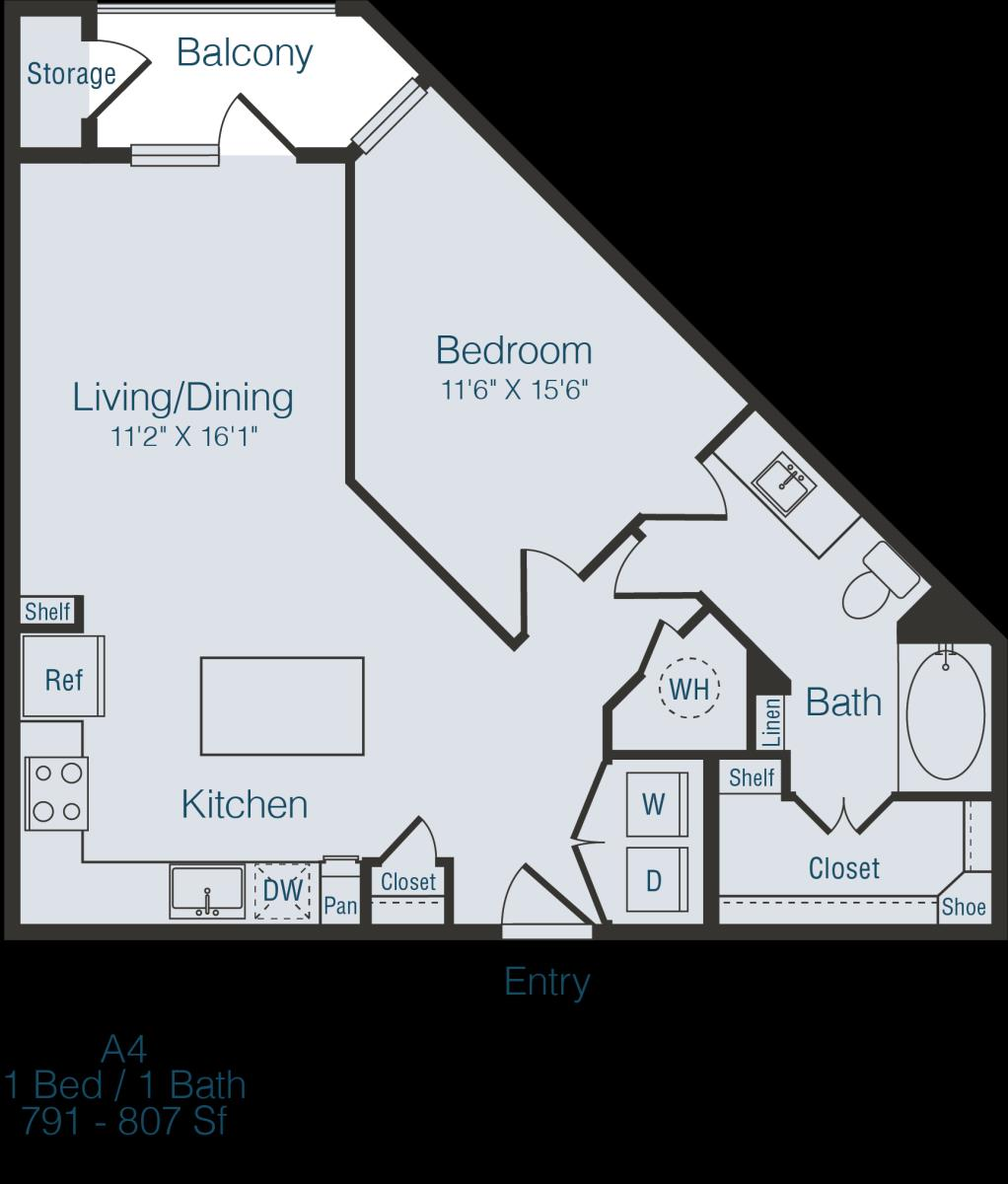 791 sq. ft. to 807 sq. ft. A4 floor plan