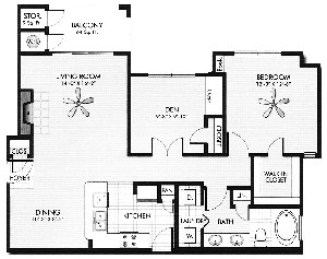 956 sq. ft. Rose Rock floor plan
