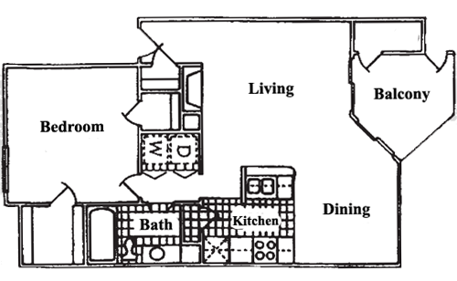 669 sq. ft. A2 floor plan