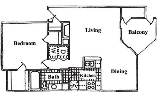 669 sq. ft. A2 floor plan