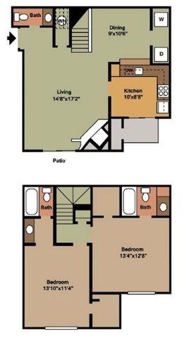 1,150 sq. ft. B2 floor plan