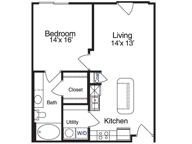 634 sq. ft. MPA6 floor plan