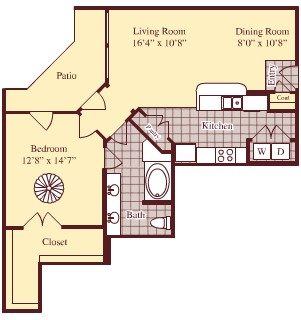 906 sq. ft. A7 floor plan