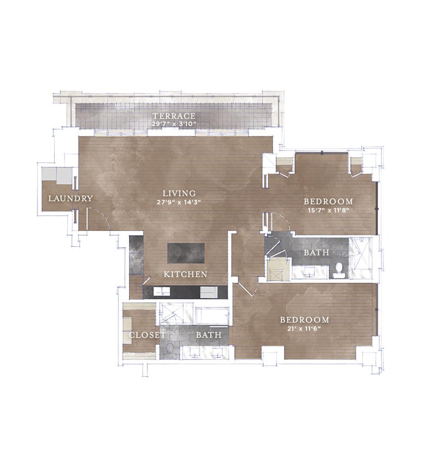 1,433 sq. ft. B1.3 floor plan