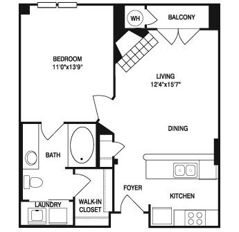 619 sq. ft. to 641 sq. ft. floor plan