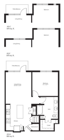 805 sq. ft. A3A floor plan