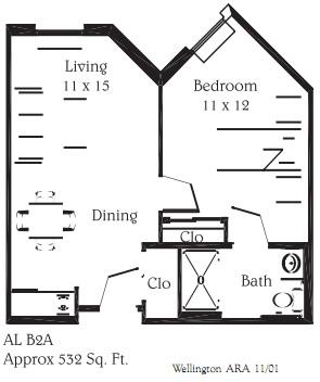 532 sq. ft. B2A floor plan