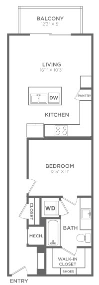 766 sq. ft. A2 floor plan