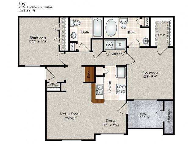 1,052 sq. ft. FLAG floor plan