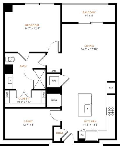 1,041 sq. ft. A6S floor plan