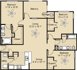 1,305 sq. ft. C1 floor plan