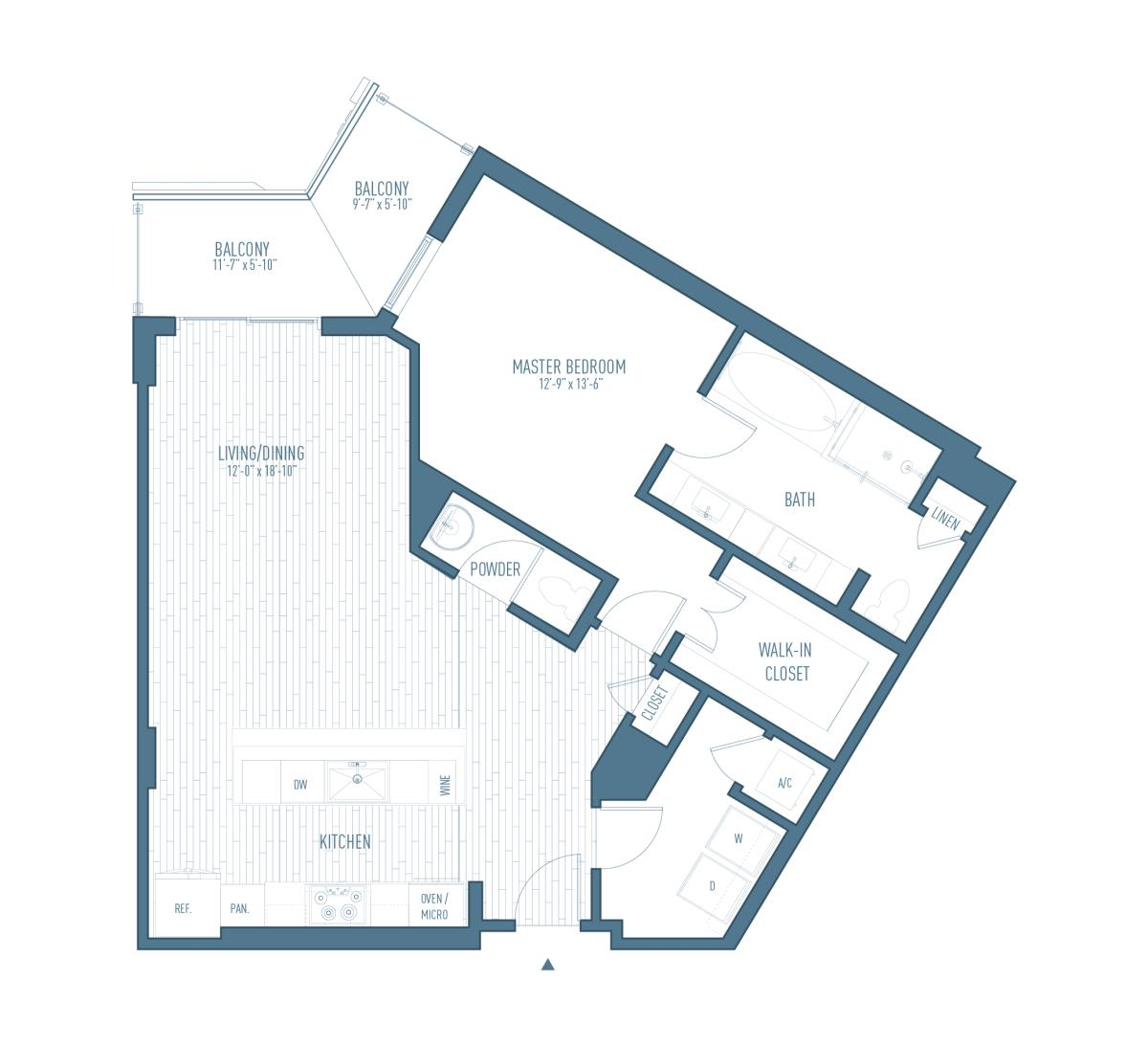 1,035 sq. ft. A13 floor plan