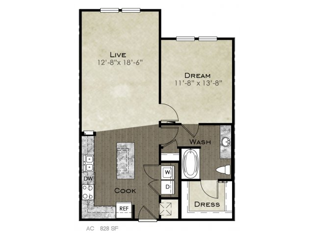 828 sq. ft. Threadgille I floor plan
