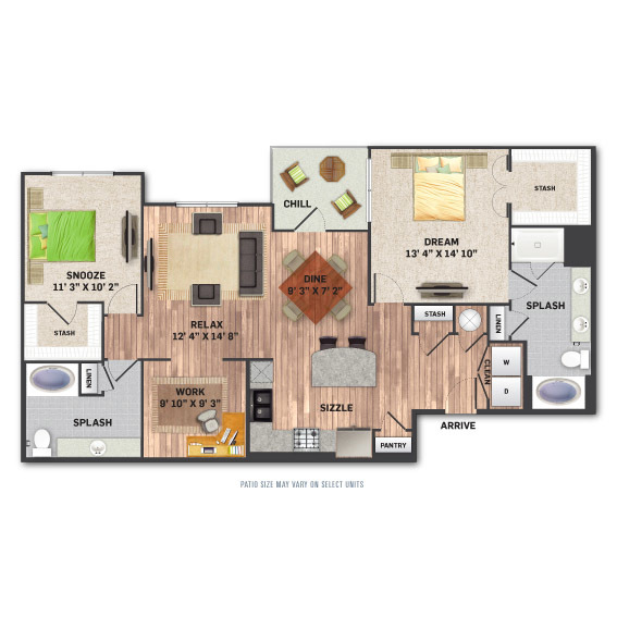 1,441 sq. ft. B4 floor plan