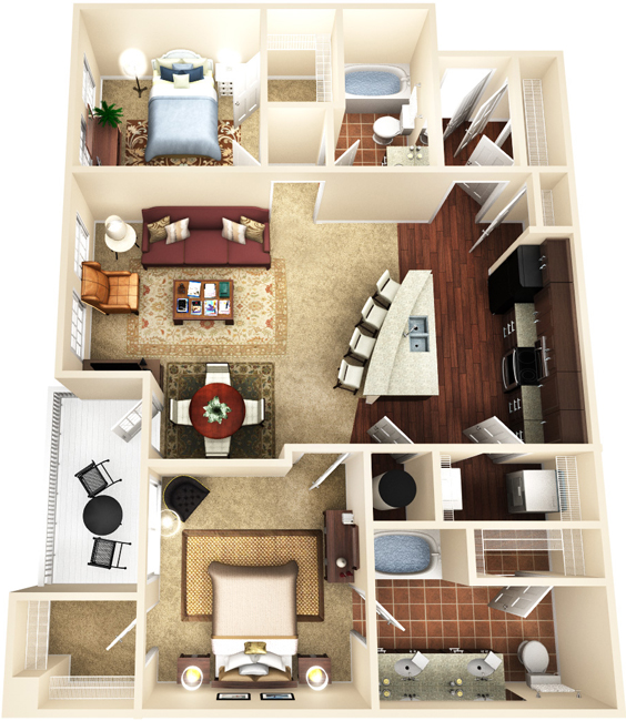 1,175 sq. ft. B2 floor plan
