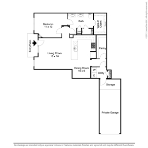 1,014 sq. ft. A2TH floor plan