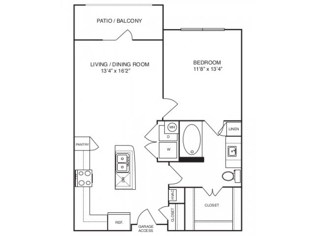 727 sq. ft. A2 alt 2 floor plan