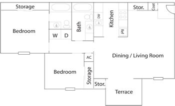 835 sq. ft. B2/B2R floor plan