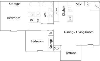 835 sq. ft. B-2 floor plan