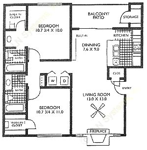 915 sq. ft. B2A floor plan