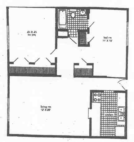 924 sq. ft. B1 floor plan