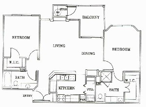 1,055 sq. ft. B2-BORDEAUX floor plan