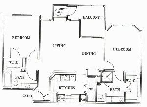 1,055 sq. ft. B2-Bordeaux floor plan