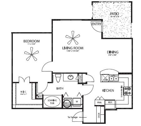 806 sq. ft. Elm/G floor plan