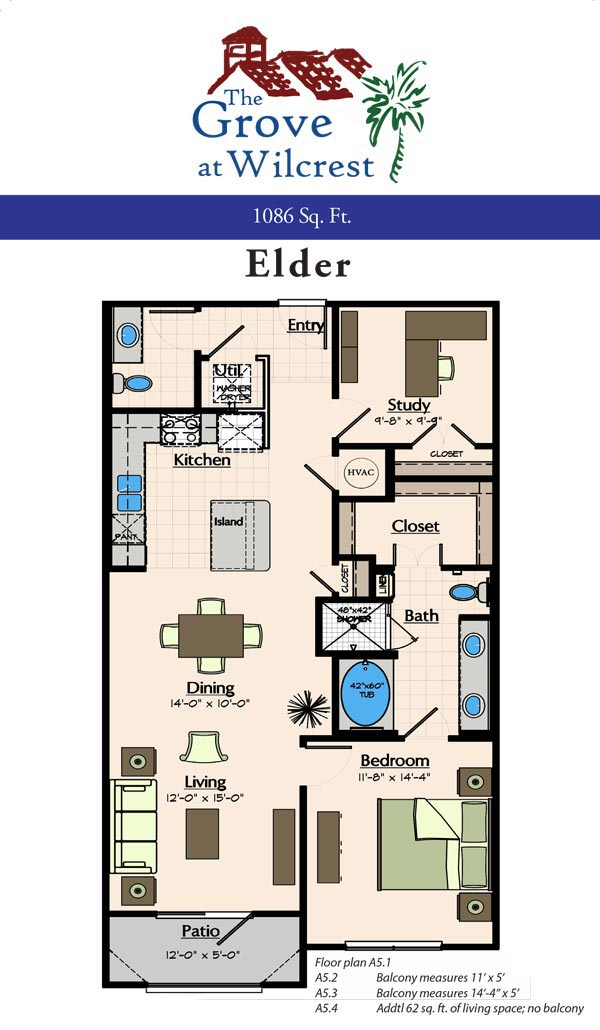 1,086 sq. ft. A5.2 floor plan