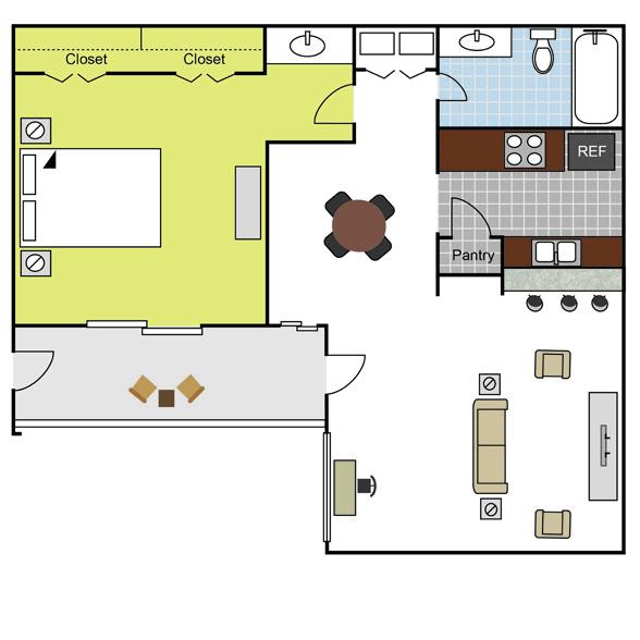 699 sq. ft. A2 floor plan