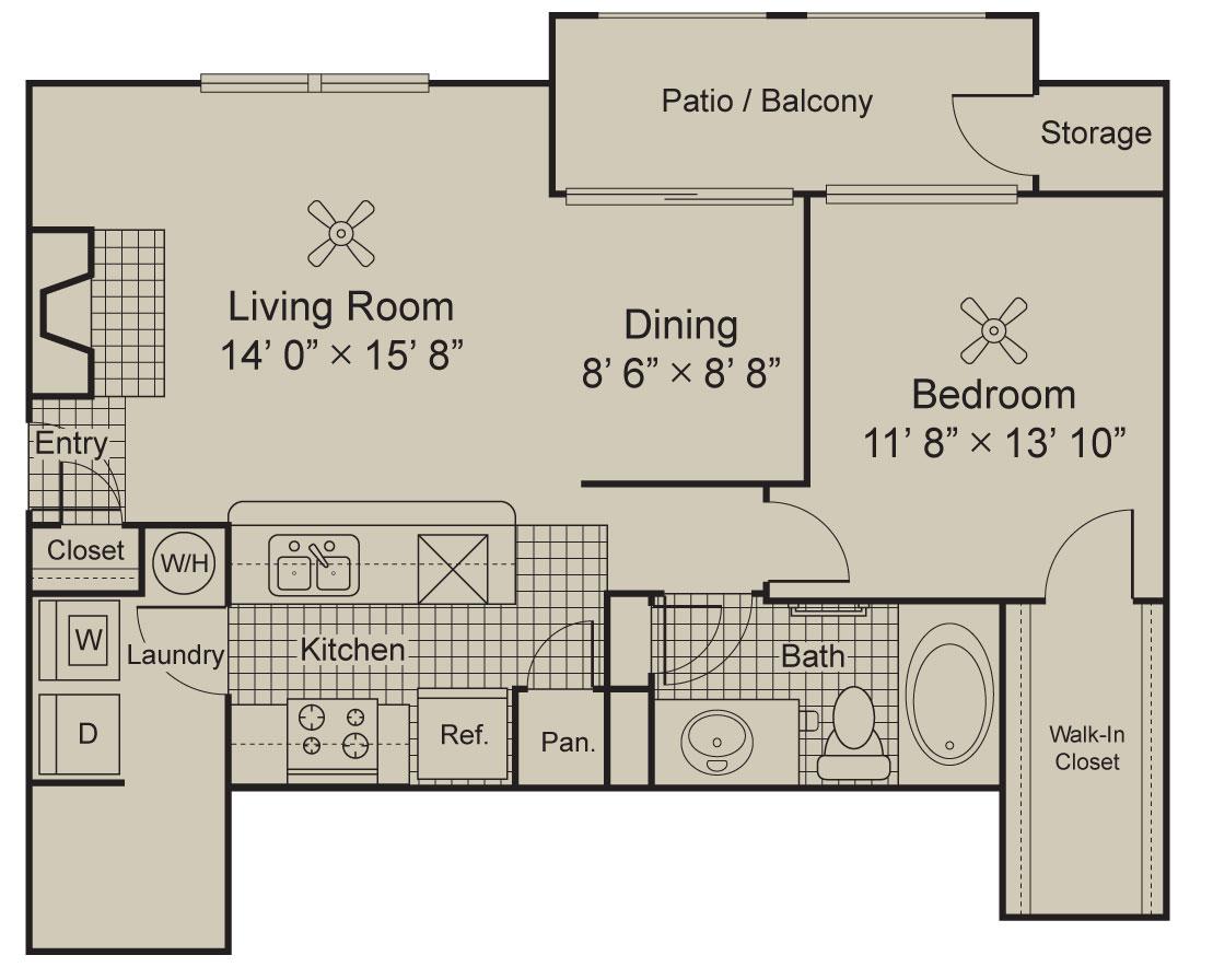 882 sq. ft. A2.2 floor plan