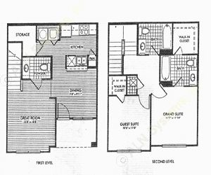 1,052 sq. ft. Elmwood/50% floor plan