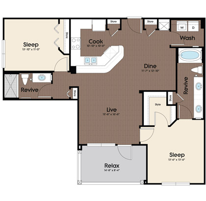 1,137 sq. ft. Danube floor plan