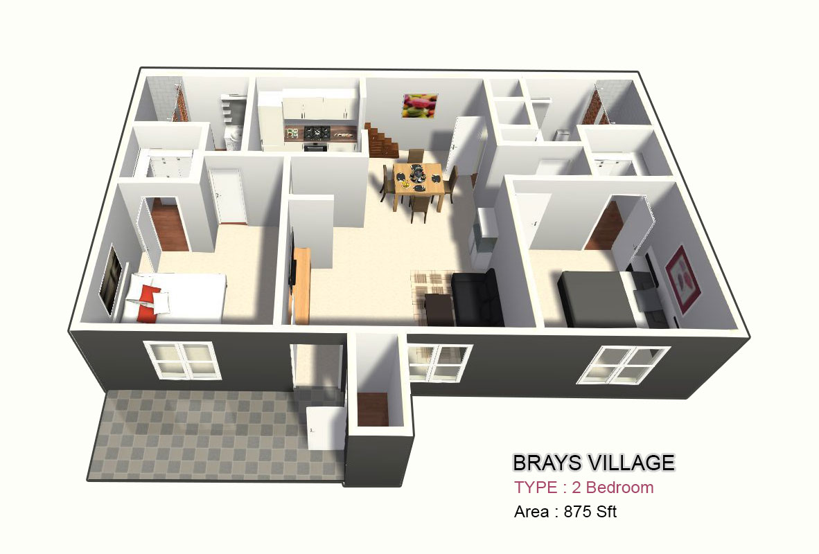 875 sq. ft. B1-B2 floor plan