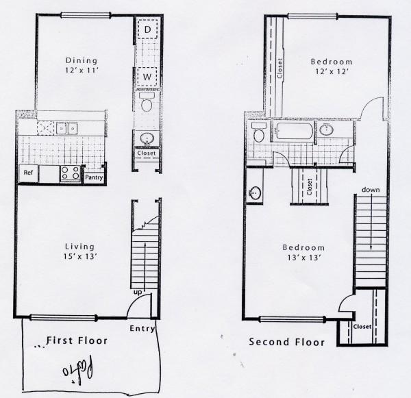 1,217 sq. ft. B1DS floor plan