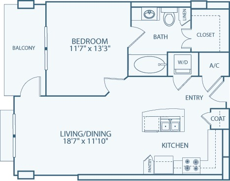 791 sq. ft. A6A floor plan