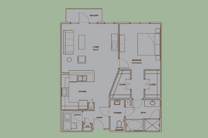 969 sq. ft. A8 floor plan