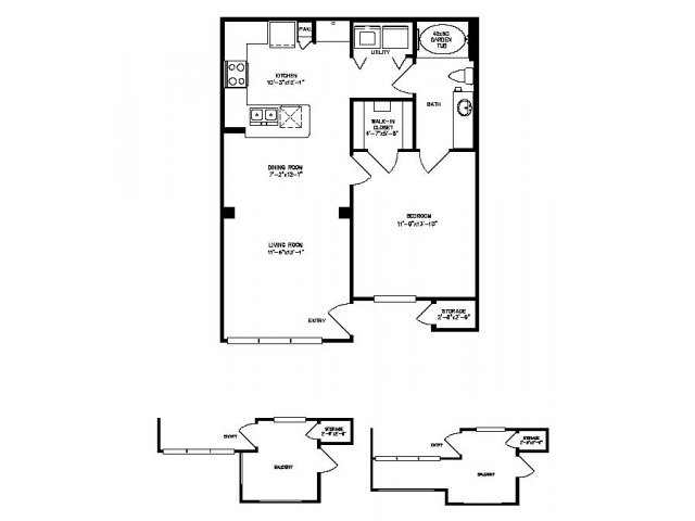 717 sq. ft. Redbud floor plan