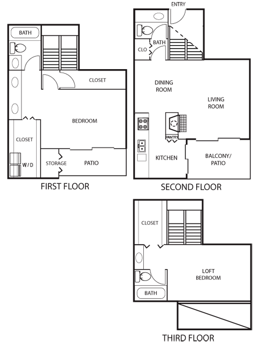 1,397 sq. ft. B5 Tri-Level floor plan